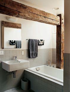 Duravit scola sink. Big gray tiles.