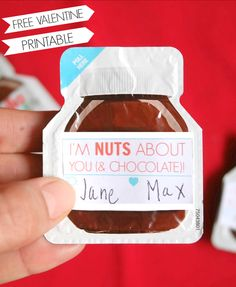 """""""I'm nuts about you and chocolate!"""" Free printable valentine for anyone!"""