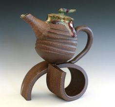 On a Roll Teapot Handmade Stoneware Teapot by ocpottery on Etsy, $125.00