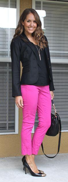 i'd rock: pinky-purple capris (target).  black top (on). black blazer (hand me down).