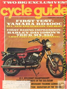 Contents: Road Tests: Yamaha RD400C, BMW R90/6 Limited Edition, Kawasaki KX400-A2; Preview/Riding Impression: Harley-Davidson MX-250; Technical: Fine-Tuning Drum Brakes; Pressure-testing and vacuum checking two-stroke crankcases; Competition: Speedway National Championships / Mike Bast; The ISDT th