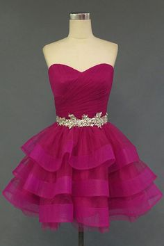 Custom Made Rose Pink Homecoming Dress,Tulle Homecoming