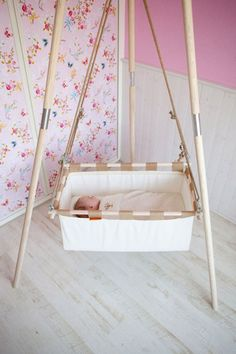 Beautiful wooden stand / tripod for a hanging cradle by Hussh. Check our lower pricing on www. Baby Cradle Swing, Baby Hammock, Baby Swings, Hanging Cradle, Hanging Beds, Baby Craddle, Baby Shawer, Baby Bedroom, Baby Cribs