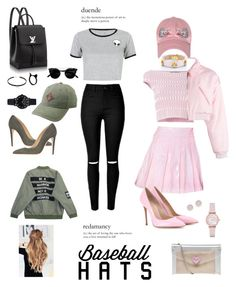 """Baseball Hats"" by meleuterio ❤ liked on Polyvore featuring Alexander McQueen, 24HRS, CAITLIN PRICE, WithChic, Armani Collezioni, Miss KG, Gianvito Rossi, Emporio Armani, Chicnova Fashion and Michael Kors"
