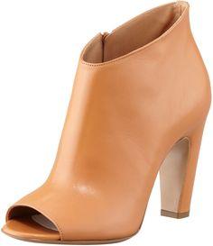 Maison Martin Margiela Mid-Heel Peep-Toe Ankle Boot, Camel on shopstyle.com