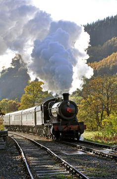 at this time of the year trains on the llangollen railway carry a poppy on the smokebox door in remembrance of those who fell in war --here great western 3802 approaches pentrefelin crossing with the poppy train for carrog Train Tickets, Bus Tickets, Steam Locomotive, Diesel Locomotive, Train Vacations, Rail Europe, Old Steam Train, Railroad Photography, Train Art