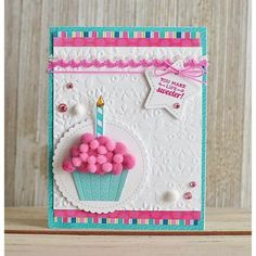 Queen and Company, Ginger Williams Pom Pom birthday cupcake card! Queen and Company, Ginger Williams The post Pom Pom birthday cupcake card! Queen and Company, Ginger Williams appeared first on DIY. Cricut Birthday Cards, Creative Birthday Cards, First Birthday Cards, Homemade Birthday Cards, Bday Cards, Creative Cards, Homemade Cards, 3d Birthday Card, Birthday Images