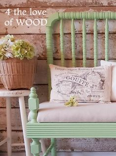 APPLE GREEN BENCH - fairy tale story of a re-purposed crib Small Space Living, Small Spaces, Spring Fairy, Annie Sloan Chalk Paint, Baby Cribs, Vintage Wood, Diy Woodworking, Wood Furniture, Benches