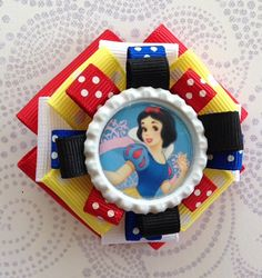 2 Snow White Princess inspired bottle cap Embellished Ribbon Hair Bow, on a partially lined alligator clip.  Other Princess Inspired clips also