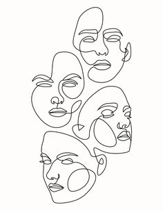Multiple Face One Line Art aesthetic art painting draw Aesthetic Drawing, Aesthetic Art, Aesthetic Painting, Aesthetic Bedroom, Abstract Face Art, Abstract Canvas Art, Abstract Drawings, Outline Art, Face Outline
