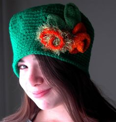 Green Cloche Hat with Orange Felted Roses