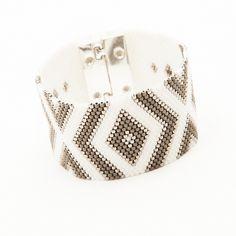#artisticbracelet #cuff #handmade - blanc mat, gris mat et argenté