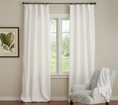 Emery Linen/Cotton Drape | Pottery Barn, white or ivory, depend on bedding