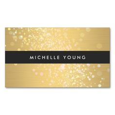 Sparkly Gold and Black Business Card Template for Makeup Artists
