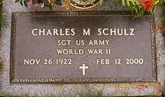 Charles Monroe Schulz - American cartoonist, best known for the comic strip Peanuts (which featured the characters Snoopy and Charlie Brown, among others). Cemetery Monuments, Cemetery Headstones, Old Cemeteries, Cemetery Art, Graveyards, Charles M. Schulz, Famous Tombstones, Famous Graves, Out Of Touch
