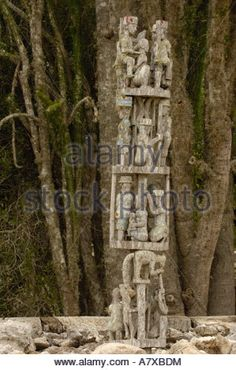 Antandroy Tomb. Prominent tombs usually decorated with 'aloalo' . Spiny forest area. Madagascar Stock Photo