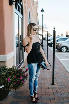 Date night outfit | Distressed denim outfit | off the shoulder top | Uptown with Elly Brown