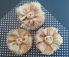 Set of Three Burlap flowers by TickleberryMoon on Etsy, $7.50