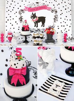A bold black, white and bright Puppy Party filled with fun Puppy Party Ideas and Dog puns! A Hot Dog Menu and Colorful Puppy Cake. Pupcakes and Lolli-Pups! Dog Themed Parties, Puppy Birthday Parties, Dog Birthday, Birthday Party Themes, Dog Parties, Birthday Ideas, Dogs Party, Puppy Party, Party Fiesta