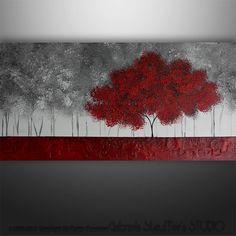 Pintura Original arte paisaje árboles por Gabriela 48 x por Catalin