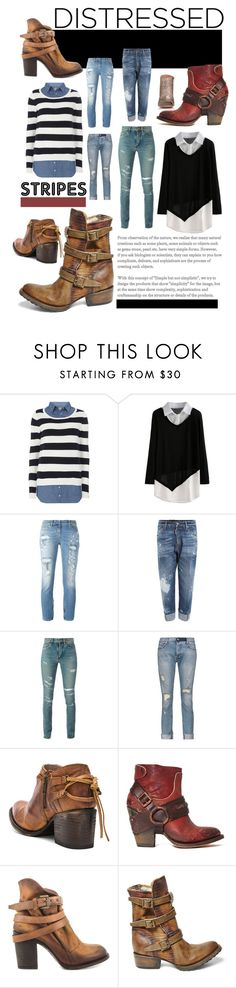 """""""True Blue: Distressed Denim"""" by bettyboopbbw69 ❤ liked on Polyvore featuring Dorothy Perkins, Faith Connexion, Dsquared2, Yves Saint Laurent, RtA, Steven by Steve Madden, Freebird, Steve Madden and Maison Margiela"""