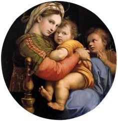 Madonna della seggiola - Raphael Sanzio (Raffaello) - Gallery - Web gallery of art Michelangelo, Italian Renaissance, Renaissance Art, Renaissance Paintings, Painting Frames, Painting Prints, Palacio Pitti, Raphael Paintings, Renaissance