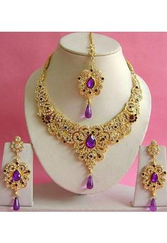 Purple and White Stone Studded Necklace Set
