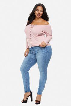 Plus Size Kaylee Off Shoulder Lace Up Top