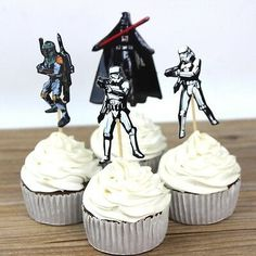 Star Wars Cupcake Wrappers 24 Toppers Kids Birthday Party Cartoon Supply for sale online Spiderman Cupcake Toppers, Star Wars Cupcake Toppers, Paw Patrol Cupcake Toppers, Paw Patrol Cupcakes, Star Wars Cupcakes, Cupcake Wrappers, Cartoon Cupcakes, Party Cartoon, Star Wars Party Decorations