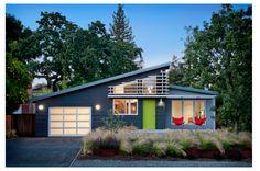 Exterior colours - Benjamin Moore Main colour - Gunmetal 1602 Secondary colour - Timberwolf 1600 Door - Tequila Lime 2028-30