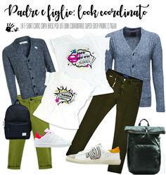 Papà e figlio vestiti uguali con look coordinato easy e facile fa copiare - www.momeme.it