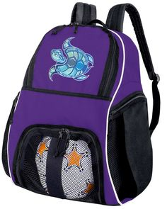 Sea Turtle Soccer Backpack or Volleyball Bag Purple. The BEST Sea Turtle Soccer  Backpack Ball 3c0744f59d991