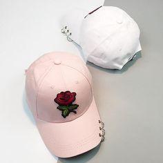 [Visit to Buy] New Summer Women 2017 Casual Baseball Cap Flower Embroidery Hat Cap Pink Black White Snapback Hats Women Men Sun Visor Hat, Suede Hat, Flat Hats, Embroidered Baseball Caps, Unisex, Snapback Hats, Women's Accessories, Casual, Sneaker