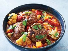 Spiced Meatball, Butternut, and Tomato Stew