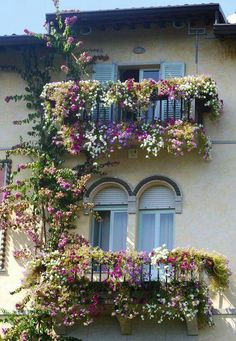 Blooms galore on these double balconies