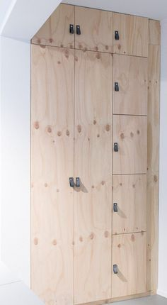 minimal wooden storage with leather handles