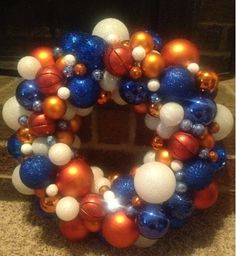 """Need to remember to make this!!! Check for Christmas ornaments next year!!!  OKC Thunder Themed Ornament Wreath (12""""). $75.00, via Etsy."""