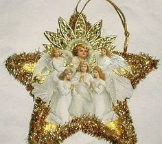 Christmas Dresden Star Santa Angel Ornament.