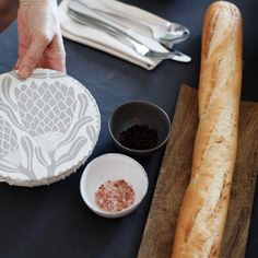 Our Small Covers fit 15 - 22 cm salad bowls, servers, and casseroles. Use on the table, in the fridge or to transport a dish to a dinner party. Takes the shape of your dish. Available in our Protea print in Fossil, hand printed on cotton. Salad Bowls, Freshly Baked, Bread Baking, Household Items, Fossil, Dishes, Eat, Cover, Ethnic Recipes