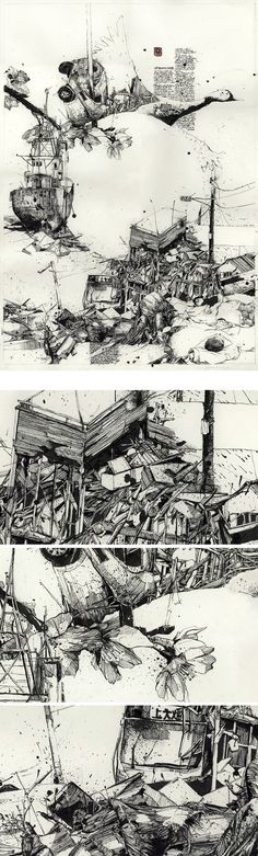 An attempt to organize the chaos of feelings, images and informations concerning the disaster in Japan, through two Drawings.