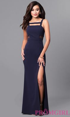 Image of long navy blue prom dress with sheer side cut outs. Front Image