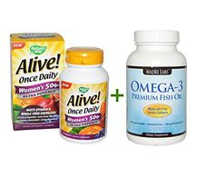 Natures Way Alive Once Daily Womens 50 MultiVitamin 60 Tablets Omega3 Premium Fish Oil 100 Fish Gelatin Softgels *** More info @