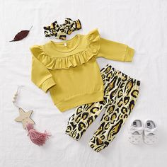 Check out this great stuff I just found at PatPat! Baby Girl Flounced Collar Solid Top and Leopard Print Pants with Headband Set Leopard Print Outfits, Leopard Print Pants, Cute Baby Boy, Cute Baby Clothes, Baby Clothes Online, Baby Going Home Outfit, Jumpsuits For Girls, Baby Gown, Baby Girl Dresses