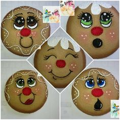 wood slices to gingerbread man Christmas Craft Show, Christmas Drawing, Diy Christmas Gifts, Christmas Projects, Christmas Decorations, Christmas Ornaments, Xmas, Gingerbread Man Crafts, Gingerbread Ornaments