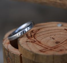 Damascus Steel Stacking Band for Women. Handcrafted by Staghead Designs.