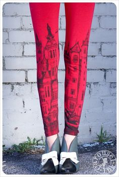 Red Victorian CITY Leggings Womens Legging RED by Carouselink