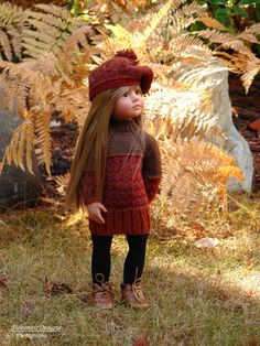 HandKnit Fall Sweater Dress+ Beret for Gotz Happy Kidz dolls by Debonair Designs…