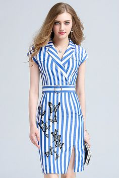 $92.99 Blue Stripped with Embroidery Lapel Neck Knee Length Dress