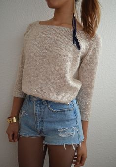 High-waisted shorts + sweater + tights
