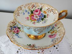Teacup Cup and Saucer Royal Albert Golden Star Flowers on Blue Floral  